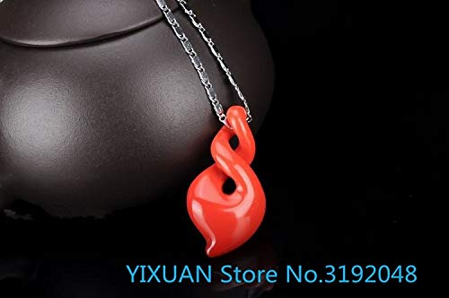 ZAMTAC Natural Nanhong Agate Necklace Jade Pendant Lady Jade Pendant Twists The Clavicle Chain of Qiankun Jade Pendant
