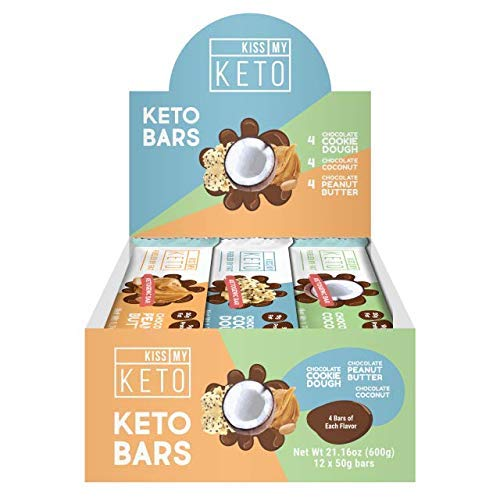 New! Kiss My Keto Snacks Keto Bars - Keto Chocolate Variety Pack (12) Nutritional Keto Food Bars, Paleo, Low Carb/Glycemic Keto Friendly Foods, Natural On-The-Go Snacks, Quality Fat Bars 3g Net Carbs (Best Peanut Butter Kiss Cookie Recipe)