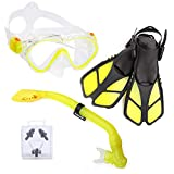 ELEMETEX Kids Snorkel Set Gear | Includes Scuba Mask, Diving Trek Fins and Easy-Breath Dry Top Valve | Improved Tempered Glass on Snorkeling Mask w/Free Ear Plugs, Nose Clip, and Carrying Bag