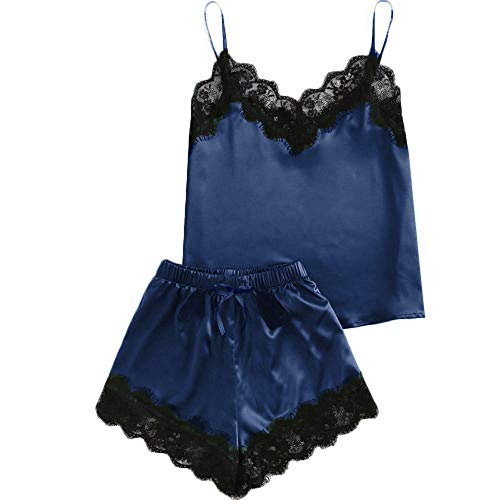 ALLYOUNG Women's Sleepwear Sleeveless Strap Nightwear Comfortable Lace Trim Satin Cami Top Pajama Sets Dark Blue