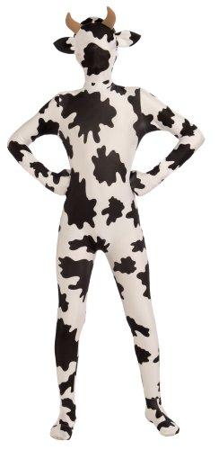 [Forum Novelties Women's Teen Disappearing Man Patterned Stretch Body Suit Costume Spotted Cow, White/Brown,] (Women Cow Costumes)