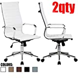 2xhome Set of 2 Mid Century Modern White PU Leather High Back Ribbed Tilt Adjustable Height Office Chair with Wheels Arms Comfortable Chrome Boss Swivel for Conference Room Work Executive Chairs