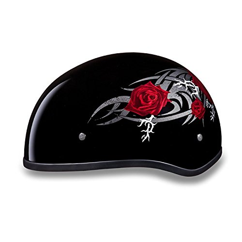 D.O.T. Women's Motorcycle Half Helmet with Roses (Size M, MD, Medium)