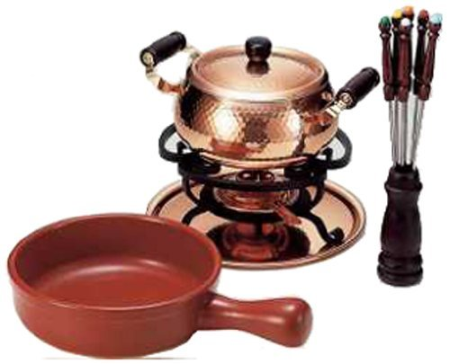 Shinkou Metal COPPER 100 Cheese and oil fondue set 20/18cm S-726W from Japan