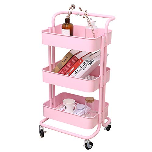 3-Tier Metal Mesh Storage Utility Cart with Brake Caster Wheels, Rolling Cart with Utility Handle, Light Pink
