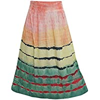 Women's Hippie Hobo Gypsy Four Tone Tie-dye Maxi Skirts L