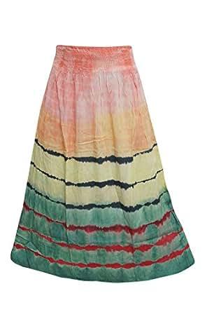 Women Boho Skirt Tye-Dye Peach,Green A-Line Gypsy Fashion Retro Resort Style Holiday Skirts (Small/Medium)