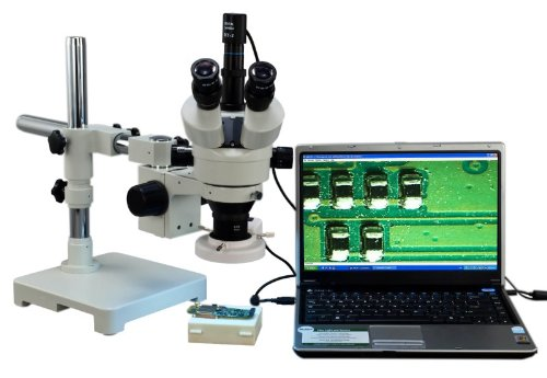 OMAX 2X-90X Digital Zoom Trinocular Single-Bar Boom Stand Stereo Microscope with Digital USB Camera and 8W Flourescent Light by OMAX
