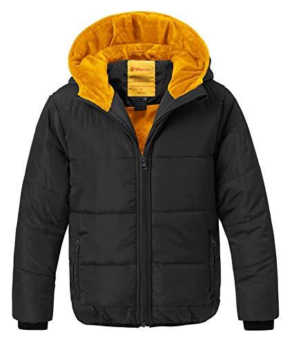Wantdo Boy s Windproof Warm Coat Hooded Down Style Jacket  Windcheater(Black 94ac42f28