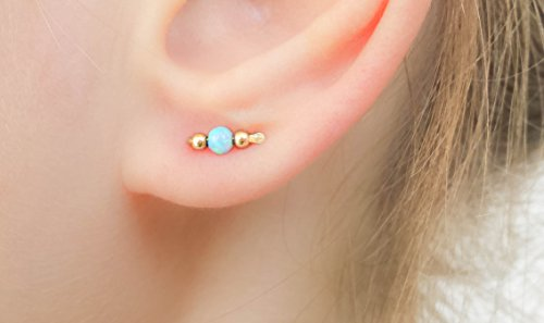 Opal Stud Earrings Tiny Bar Climber Studs 14k Gold Filled Everyday Jewelry Crawler Ear Sweep (18k Coral Earrings)