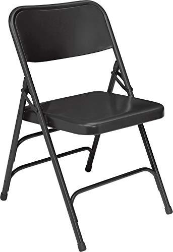 (OKSLO В 300 series deluxe all-steel triple brace double hinge folding chair, black (pa)