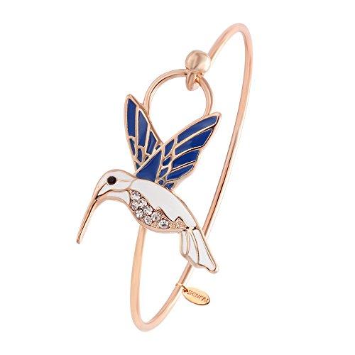 SENFAI Tiny Enamel Trochilus Crystal Easy Openning Charm Bracelet and Hummingbird Bangle Female (Rose gold)