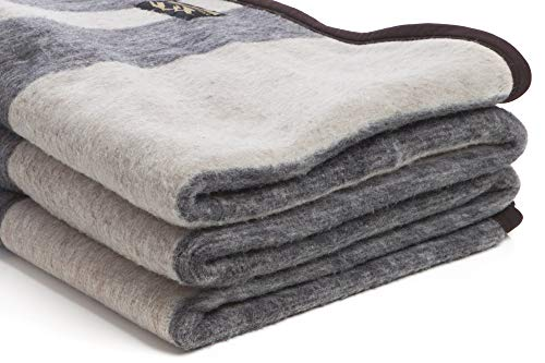 (Desert Breeze Distributing Alpaca and Sheep Wool Blanket, Soft and Thick, King Size, 86 x 103 inches, Earth Tones with Tan Stripes, Andean Collection, Made in Peru)