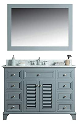 swanbath 48 inch Solid Wood Bathroom Vanity Cabinet in Grey with Carrara Marble Countertop &Under-Mount White Ceramic Sink