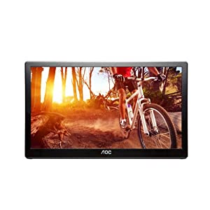 AOC e1659Fwu 16-Inch Ultra Slim 1366x768 Res 200 cd/m2 Brightness USB 3.0-Powered Portable LED Monitor w/Case