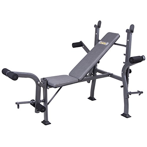 Body Champ Standard Weight Bench with Butterfly and Leg Lift Curl Developer Extension Attachment / Space Saving, Dark Gray/Black BCB500