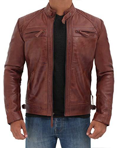 Express Leather Jacket Mens (Decrum Brown Mens Genuine Biker Distressed Vintage Leather Jackets   [1100085] Diamond 1 Brown,)