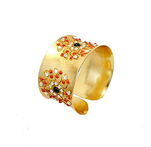 - Royal Gold bangle Cuff Bracelet- KUNDAN BRACELET-Gemstone jewelry,Statement designer cuff by Taneesi