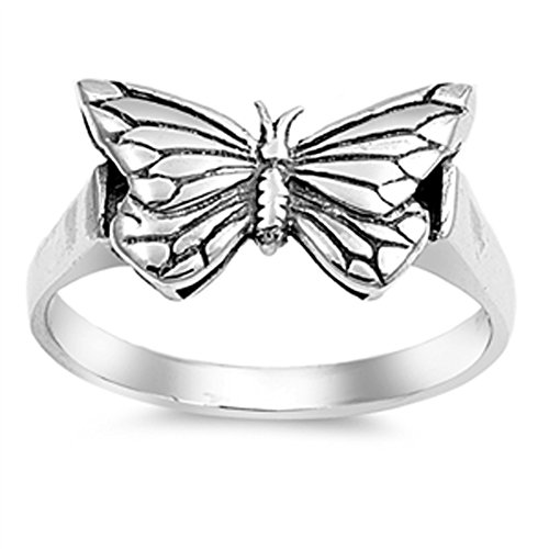 Antiqued Butterfly Filigree Animal Ring New .925 Sterling Silver Band Size 10 (Antiqued Filigree Butterfly Ring)
