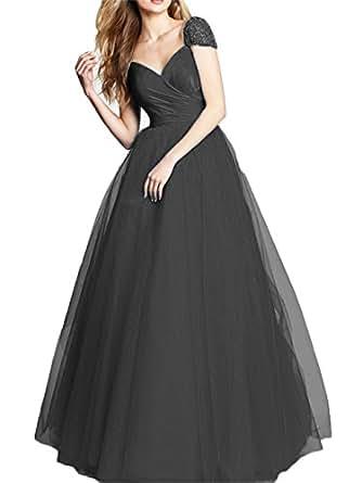 Dydsz Women's Beaded Long Evening Prom Dresses Formal Gown Plus Size V Neck D239 Black 22 Plus