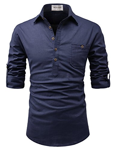 NEARKIN (NKNKN450 Adorable Mens Roll-Up Sleeve Design Urbane Casual Cotton Shirts Navy US L(Tag Size L) (Woven Sleeve Shirt)
