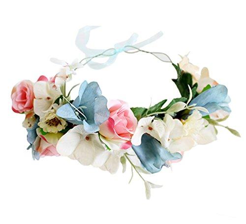 - Vivivalue Flower Wreath Crown Boho Flower Headband Hair Garland Floral Headpiece Halo with Ribbon Wedding Party Festival Photos Blue