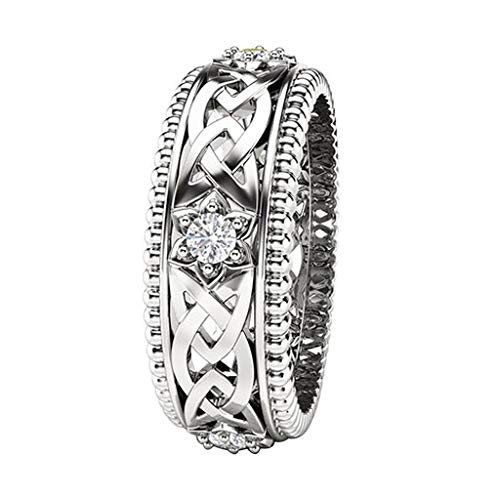 Fashionhe Bridal Wedding Band Jewelry Plated White Diamond Ring Openwork Pattern Ring Accessories (Silver.10)