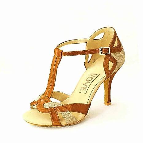 T.T-Q Chaussures de Danse pour Femme Similicuir Talon personnalisé Débutant Professionnel Or