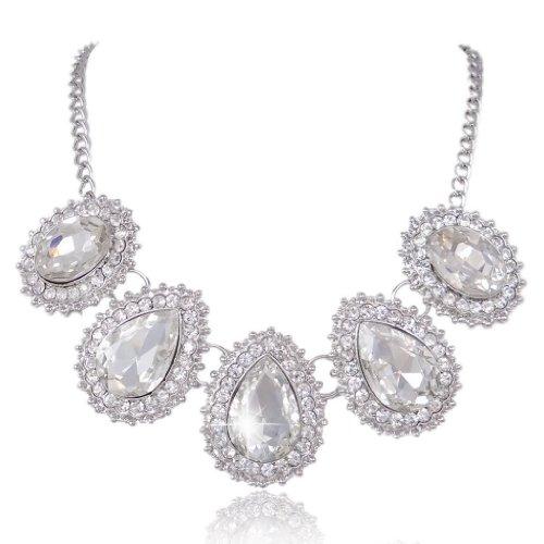 EVER FAITH® Bridal Silver-Tone 5 Teardrop Austrian Crystal Clear Pendant - Clear Drop Crystal Necklace