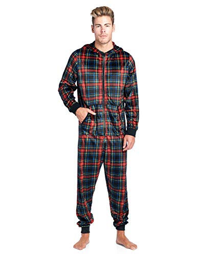 Ashford & Brooks Men's Adult Mink Fleece Hooded One-Piece Union Suit Pajamas - Black Stewart Plaid - -