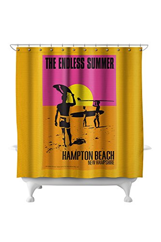 Hampton Poster Bed - Hampton Beach, New Hampshire - The Endless Summer - Original Movie Poster (71x74 Polyester Shower Curtain)