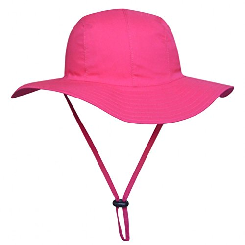 Ubbetter Unisex Child Wide Brim Sun Protection Hat UPF 50 Adjustable (L/3Years - 4Years, Rose Red) ()