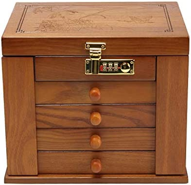 Changsuo Jewelry Box Organizer With Combination Lock For Women