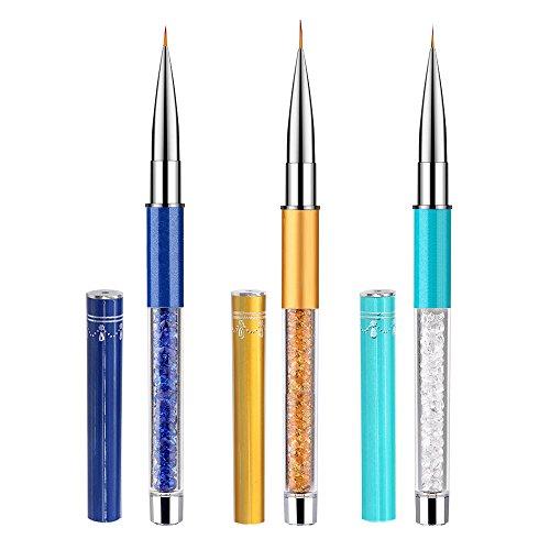 Kingtree 3 PCS Nail Art Liner Brush Pen UV Gel Nail Painting Brushes Detail Liner Pens Set, Manicure Kit Metal Diamond Acrylic Handle 7/9/11mm ()