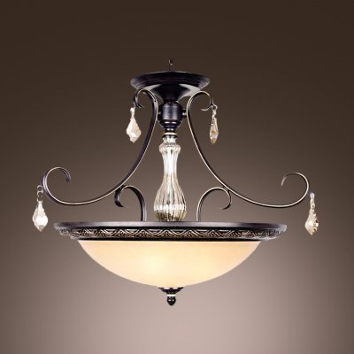 (hua Warm Amber Crystal Drops and Column Scavo Glass Bowl Pendant Lighting)