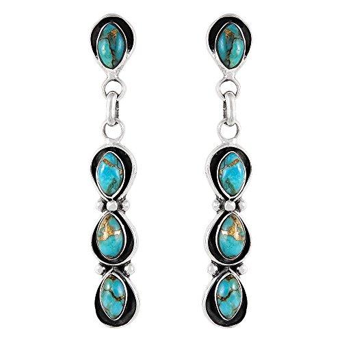 Southwest Style Earrings Genuine Turquoise & 925 Sterling Silver dangle earring gemstone jewelry (Teal/Matrix) (Dangling Gemstone Earrings)