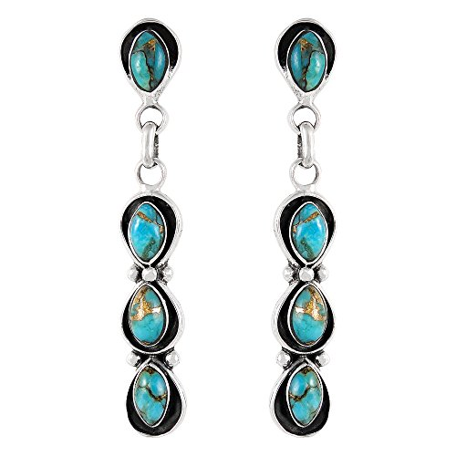 Southwest Style Earrings Genuine Turquoise & 925 Sterling Silver dangle earring gemstone jewelry (Teal/Matrix) (Teal Womens Earring)
