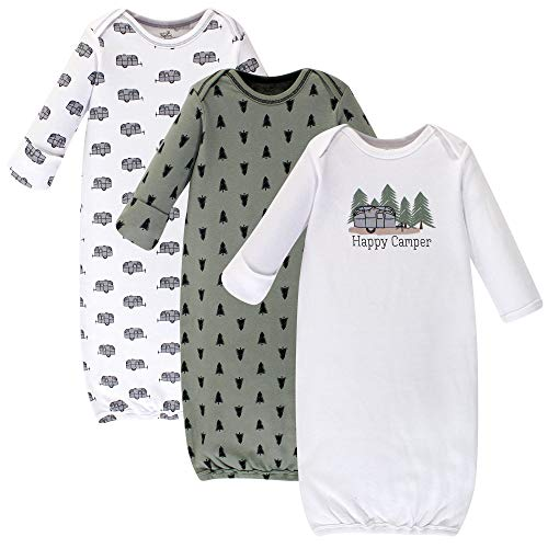 Touched by Nature Baby Boys Organic Cotton Gowns, Happy Camper 3-Pack, 0-6 Months