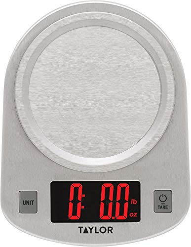 Taylor Precision Products Digital Kitchen Scale, 11 pound capacity, Steel (Pack of 2)
