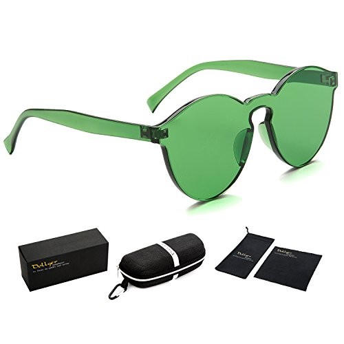 Dollger One Piece Transparent Tinted Rimless Cat Eye Sunglasses with Candy Colors (Green, 100% UV Protection - Cat Green Eye
