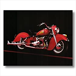 1941 Vintage Red Indian Motorcycle Wall Picture 16x20 Art Print