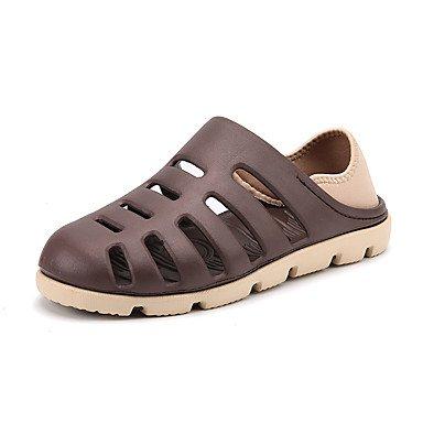Los hombres sandalias verano agujero exterior PU zapatos atléticos casual zapatos de tacón Plano de agua Brown