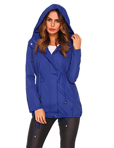 ELESOL Women Long Sleeve Lightweight Packable Raincoats Windbreaker Jacket, Blue, Medium