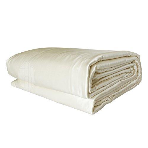 THXSILK Luxury All Season Silk Covered Silk Comforter, Best Value: 2in1 100% Silk Removable Duvet Cover Plus 100% Silk Comforter (King, Ivory White)