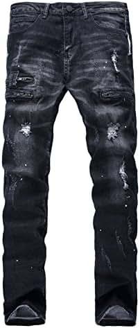 Men's Black Stretch Jeans with Broken hole Zipper deco