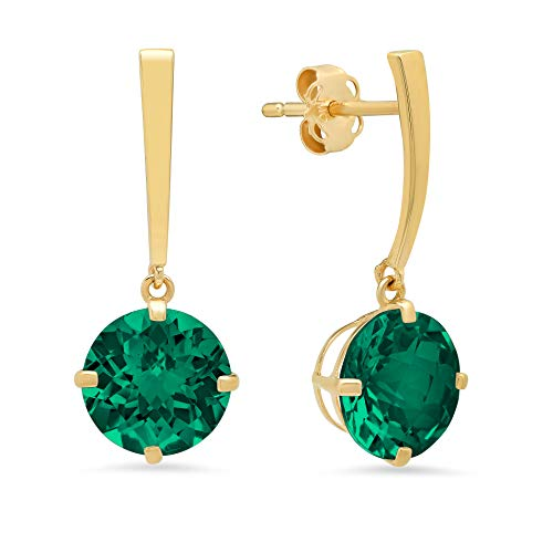 14k Yellow Gold Solitaire Round-Cut Created Emerald Drop Earrings ()