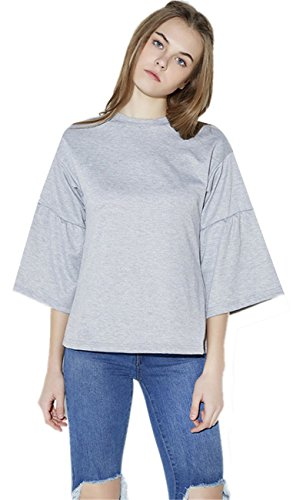 3/4 Kimono Bell Ärmel Lose Grau T-Shirt Tee Shirt Boxy Oberteil Top 2XL