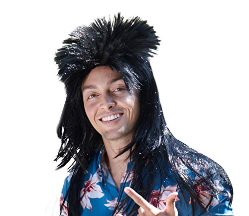 Spooktacular Adult 80's Hair Band Rock Mullet Wig, Black]()