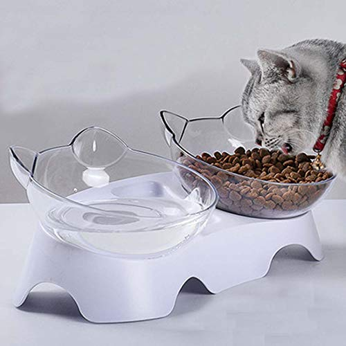 Vndaxau Elevated Cat Double Bowl with Raised Stand,Tilted Food Feeder for Kitten and Small Dogs,Reduce Pet Neck Pain While Eatting