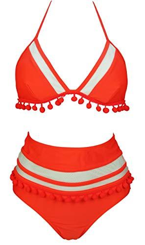 COCOSHIP Orange Red & White Striped Mesh Net High Waist Bikini Set Pom Pom Tassel Top Halter Straps Swimsuit Beachwear 16